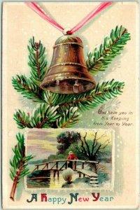Vintage 1910 HAPPY NEW YEAR Embossed Greetings Postcard GOLD BELL / Pine Bough