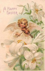 Easter Greetings Angel Playing Violin White Lilies Antique Postcard J72477