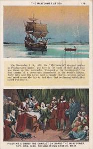 The Mayflower At Sea Pilgrims Signing The Compact On Board The Mayflower Prov...