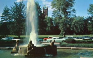 IA - Ames. Iowa State College, Fountain at Memorial Union