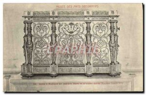 Old Postcard Musee des Arts Decoratifs box has white marble Music and bronzes...