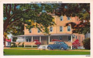 Oak Crest Inn, Falmounth Heights, MA, Early Linen Postcard, Unused