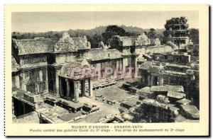 Postcard Ancient Ruins Cambodia Angkor D Angkor Vath central Porch of Western...