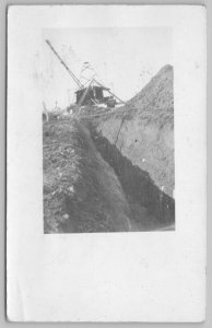 RPPC Ditch-Digging Equipment~Tall Crane~Temporary Footbridge~c1910 Postcard