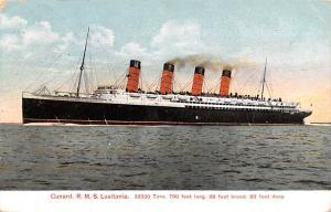 Cunard Line Ship Postcard Old Vintage Steamer Antique Post Card R.M.S. Lusita...