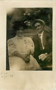 Postcard RPPC Man And Woman Or Husband and Wife