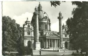 Austria, Wien, Karlskirche, 1963 used real photo Postcard