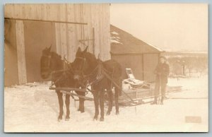 Real Photo Postcard~Horse Team Pulls Lumber on Sleigh~Farm Barn~Farmer~1912 RPPC