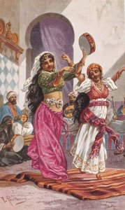 Tanzerinnen Dancing Girls Middle East Old Oilette Postcard