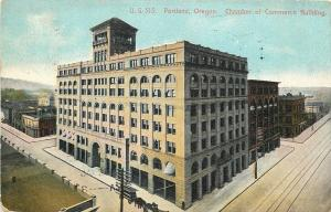Portland OR~Chamber of Commerce Building on Corner~Trolley Tracks 1910