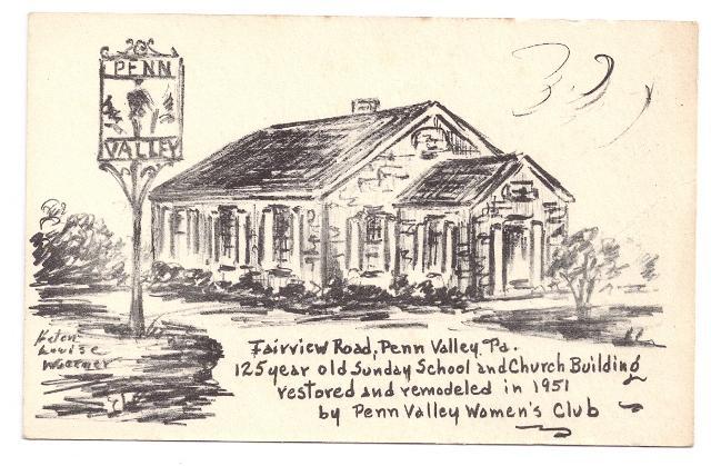 Penn Valley PA Postcard Sunday School Artist Helen Woerner