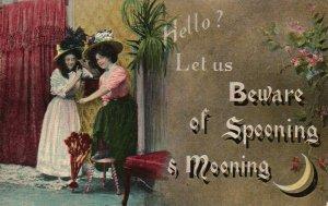 Vintage Postcard 1910 Hello? Ley us Beware of Spooning & Mooning Two Woman