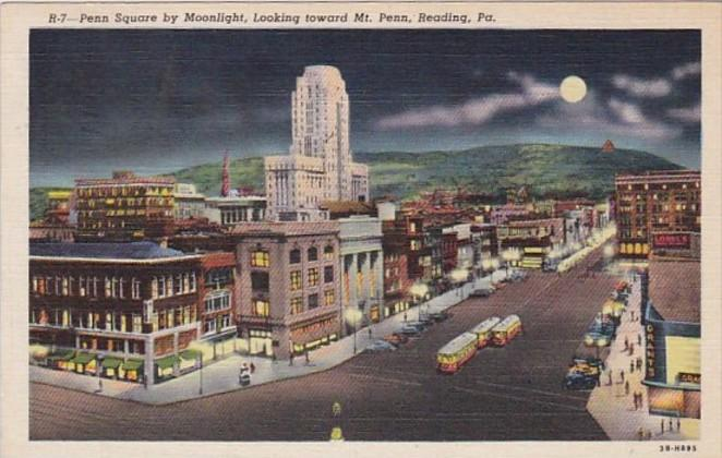 Pennsylvania Reading Penn Square By Moonlight Looking Toward Mount Penn 1941 ...