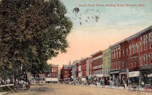 Newark Ohio~South Park Place~Signs~Union Cafe~Regal Shoes~1911 Postcard