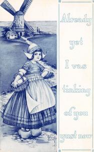 Kathryn Elliott~Dutch Girl on Path to Windmill~Vas Tinking of You~1914 Blue Tint