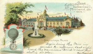 Agricultural Palace 1905 Expo Balloon Postcard undivided Oregon 20-1135