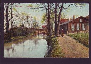P1542 1911 used postcard blekinge, lady canal  village sweden