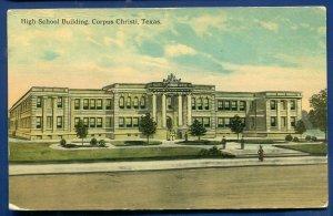 Corpus Christi Texas High School Building old Postcard