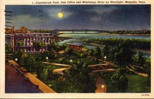 Tennessee Memphis Confederate Park Post Office and Mississippi River By Moonl...