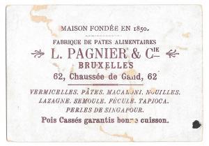 Brussells Victorian Trade Card L Pagnier & Co Pasta Pates Girls Children Ocean