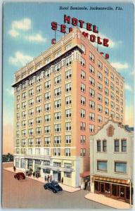 Jacksonville, Florida Postcard HOTEL SEMINOLE Street View Curteich Linen c1940s