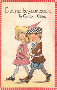 Let Me Be Your Escort in Canton Ohio~Fashionable Boy & Girl~1914 Pennant PC