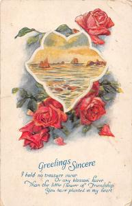 Greetings Sincere roses sea landscape 1927