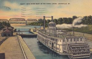 Ohio River Boat in The Canal Locks,  Louisville,   Kentucky,  PU_1948