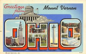 Mount Vernon Ohio~State Large Letter Linen Postcard~Disabled WWI Vet~1940 PC