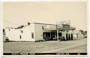 Chetek WI Nick's Trading Post Gas Station Coke 1949 RPPC Real Photo Postcard