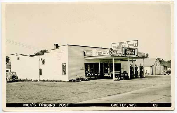 Chetek WI Nick's Trading Post Gas Station Coke 1949 RPPC Real Photo Postcard