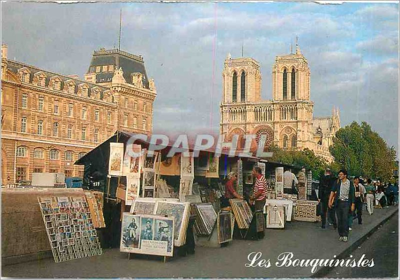 Modern Postcard Paris Notre Dame and booksellers
