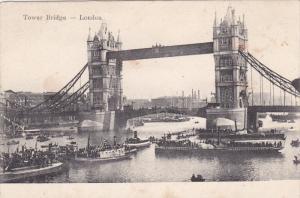 Tower Bridge, Boats, LONDON, England, UK, 1900-1910s