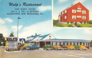 Bethlehem Pennsylvania Walps Restaurant Multiview Antique Postcard K102251