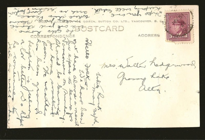 Postmarked 1946 The Peace Arch Canadian Side Gowen Sutton Color Postcard