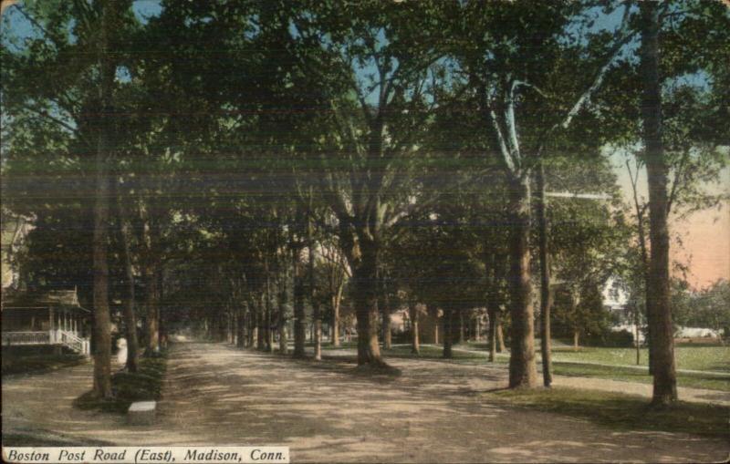 Madison CT Boston Road East c1910 Postcard