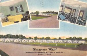 Henderson North Carolina Henderson Motel Antique Postcard J52968