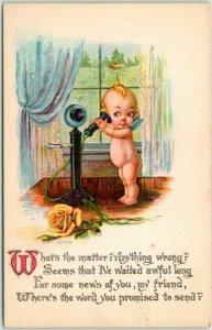 1910s GARTNER & BENDER Greetings Postcard KEWPIE Telephone What's the Matter?