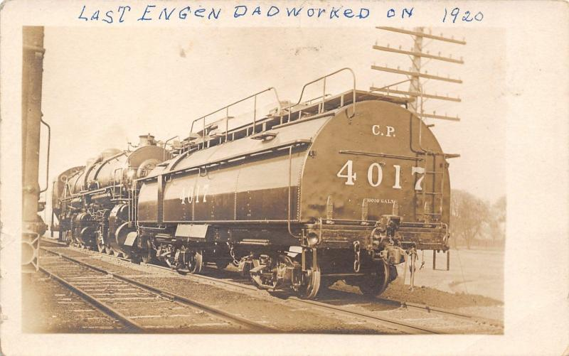 Real Photo Postcard~CP Railroad~Train Engine 4017~Last One Dad Worked on in 1920