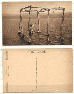 JUDAICA BRITISH PALESTINE POSTCARD 1921 THE DEAD SEA