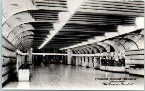 STRECKFUS STEAMER President Photo RPPC Postcard Grand Salon Interior c1940s