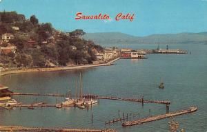 Sausalito California Main Street  and Harbor View Vintage Postcard JD933959