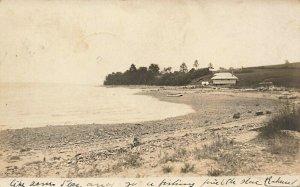 Searsport ME Coastal View Boat Yard Real Photo Postcard