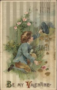 Winsch Valentine - Boy Gathering Gold Hearts c1910 Postcard #2