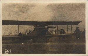 Unidentified Biplane Airplane c1920 Real Photo Postcard