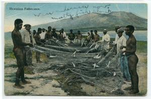 Hawaiian Fishermen Nets Hawaii 1910c postcard