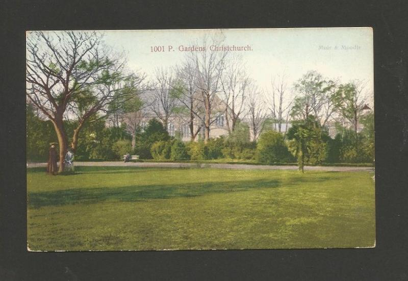 POSTCARD year 1907 stamp NZ NEW ZEALAND P GARDENS CHRISTCHURCH  Z1