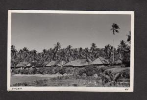 Zanzibar Tanzanian Tanzania Village Huts Real Photo RPPC Postcard Africa
