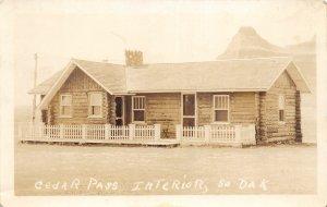 G32/ Interior South Dakota Postcard RPPC c1930s Cedar Pass Lodge