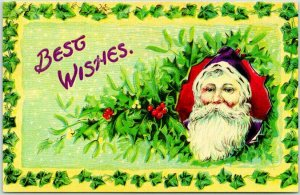 Vintage c1910s CHRISTMAS Postcard SANTA CLAUS w/ Holly & Mistletoe BEST WISHES